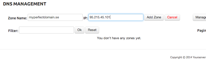 Add Domain zone in yourserver.se DNS